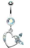 Butterfly Romance Belly Button Ring - 14 GA (1.6mm) - Aqua/Aurora Borealis - Sold Individually