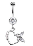 Butterfly Romance Belly Button Ring - 14 GA (1.6mm) - Clear - Sold Individually