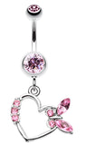 Butterfly Romance Belly Button Ring - 14 GA (1.6mm) - Light Pink - Sold Individually