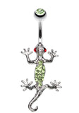 Moving Gecko Lizard Sparkle Belly Button Ring - 14 GA (1.6mm) - Light Green - Sold Individually