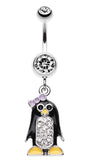 Adorable Penguin Sparkle Belly Button Ring - 14 GA (1.6mm) - Clear - Sold Individually