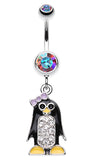 Adorable Penguin Sparkle Belly Button Ring - 14 GA (1.6mm) - Pink/Aurora Borealis - Sold Individually