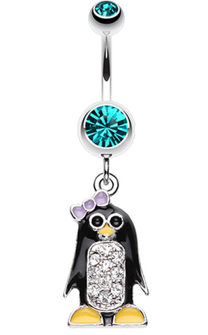 Adorable Penguin Sparkle Belly Button Ring - 14 GA (1.6mm) - Teal - Sold Individually