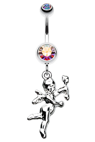 Cupids Love Belly Button Ring - 14 GA (1.6mm) - Aurora Borealis - Sold Individually