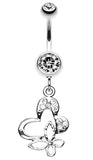 Sweet Butterfly Heart Belly Button Ring - 14 GA (1.6mm) - Clear - Sold Individually