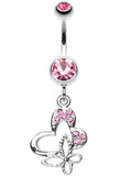 Sweet Butterfly Heart Belly Button Ring - 14 GA (1.6mm) - Light Pink - Sold Individually