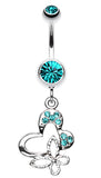 Sweet Butterfly Heart Belly Button Ring - 14 GA (1.6mm) - Teal - Sold Individually