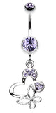 Sweet Butterfly Heart Belly Button Ring - 14 GA (1.6mm) - Blue - Sold Individually