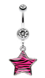 Zebra Star Dangle Belly Button Ring - 14 GA (1.6mm) - Pink - Sold Individually