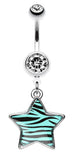 Zebra Star Dangle Belly Button Ring - 14 GA (1.6mm) - Teal - Sold Individually