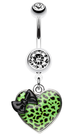 Leopard Pattern Heart Bow Belly Button Ring - 14 GA (1.6mm) - Black/Green - Sold Individually