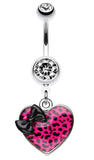 Leopard Pattern Heart Bow Belly Button Ring - 14 GA (1.6mm) - Black/Pink - Sold Individually