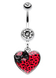 Leopard Pattern Heart Bow Belly Button Ring - 14 GA (1.6mm) - Black/Red - Sold Individually