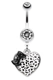 Leopard Pattern Heart Bow Belly Button Ring - 14 GA (1.6mm) - Black/White - Sold Individually