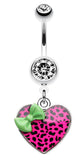 Leopard Pattern Heart Bow Belly Button Ring - 14 GA (1.6mm) - Green/Pink - Sold Individually