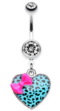Leopard Pattern Heart Bow Belly Button Ring - 14 GA (1.6mm) - Pink/Teal - Sold Individually