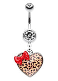 Leopard Pattern Heart Bow Belly Button Ring - 14 GA (1.6mm) - Red/Brown - Sold Individually