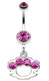 Sparkling Brass Knuckle Belly Button Ring - 14 GA (1.6mm) - Fuchsia - Sold Individually