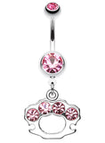 Sparkling Brass Knuckle Belly Button Ring - 14 GA (1.6mm) - Light Pink - Sold Individually