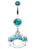 Sparkling Brass Knuckle Belly Button Ring - 14 GA (1.6mm) - Teal - Sold Individually