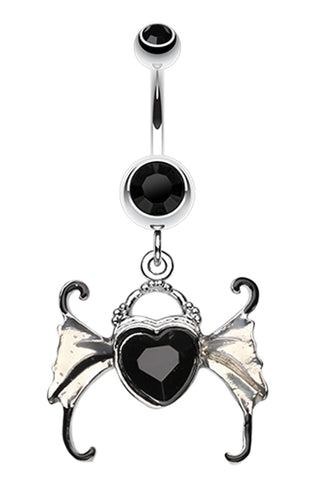 Angel Heart Wing Sparkle Belly Button Ring - 14 GA (1.6mm) - Black - Sold Individually