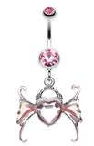 Angel Heart Wing Sparkle Belly Button Ring - 14 GA (1.6mm) - Light Pink - Sold Individually