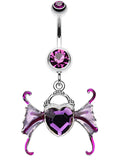 Angel Heart Wing Sparkle Belly Button Ring - 14 GA (1.6mm) - Purple - Sold Individually
