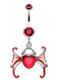 Angel Heart Wing Sparkle Belly Button Ring - 14 GA (1.6mm) - Red - Sold Individually