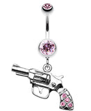 Pistol Gun Sparkle Belly Button Ring - 14 GA (1.6mm) - Light Pink - Sold Individually