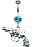 Pistol Gun Sparkle Belly Button Ring - 14 GA (1.6mm) - Teal - Sold Individually