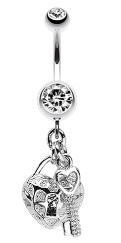 Puffed Heart Lock & Key Charm Dangle Belly Button Ring - 14 GA (1.6mm) - Clear - Sold Individually