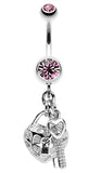Puffed Heart Lock & Key Charm Dangle Belly Button Ring - 14 GA (1.6mm) - Light Pink - Sold Individually