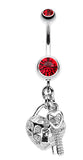 Puffed Heart Lock & Key Charm Dangle Belly Button Ring - 14 GA (1.6mm) - Red - Sold Individually