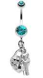 Puffed Heart Lock & Key Charm Dangle Belly Button Ring - 14 GA (1.6mm) - Teal - Sold Individually