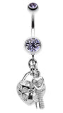 Puffed Heart Lock & Key Charm Dangle Belly Button Ring - 14 GA (1.6mm) - Blue - Sold Individually