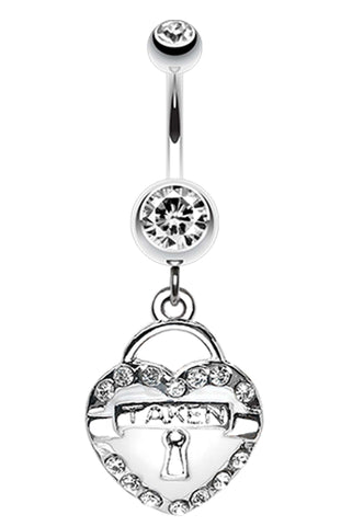 Jeweled Heart Lock Charm Dangle Belly Button Ring - 14 GA (1.6mm) - White - Sold Individually
