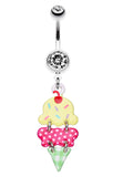 Double Scoop Ice Cream Cone Belly Button Ring - 14 GA (1.6mm) - Clear - Sold Individually
