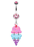 Double Scoop Ice Cream Cone Belly Button Ring - 14 GA (1.6mm) - Pink - Sold Individually