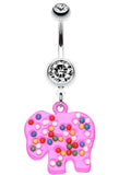 Bright Elephant Sprinkle Belly Button Ring - 14 GA (1.6mm) - Clear/Pink - Sold Individually
