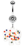 Bright Elephant Sprinkle Belly Button Ring - 14 GA (1.6mm) - Clear/White - Sold Individually