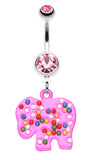 Bright Elephant Sprinkle Belly Button Ring - 14 GA (1.6mm) - Pink - Sold Individually