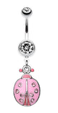 Adorable Ladybug Sparkle Belly Button Ring - 14 GA (1.6mm) - Clear/Pink - Sold Individually