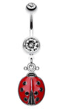 Adorable Ladybug Sparkle Belly Button Ring - 14 GA (1.6mm) - Clear/Red - Sold Individually