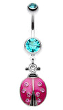 Adorable Ladybug Sparkle Belly Button Ring - 14 GA (1.6mm) - Teal/Fuchsia - Sold Individually