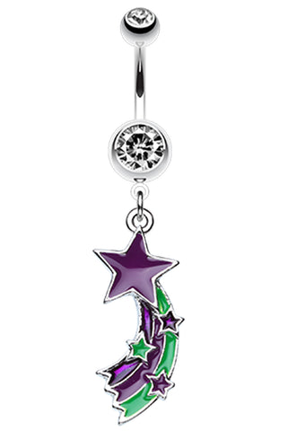 Shooting Star Splash Belly Button Ring - 14 GA (1.6mm) - Purple - Sold Individually