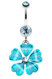 Shimmering Hearty Flower Belly Button Ring - 14 GA (1.6mm) - Aqua - Sold Individually