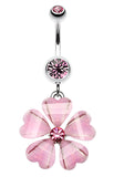 Shimmering Hearty Flower Belly Button Ring - 14 GA (1.6mm) - Light Pink - Sold Individually