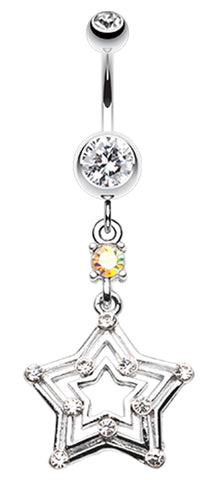 Dazzling Star Belly Button Ring - 14 GA (1.6mm) - Clear - Sold Individually