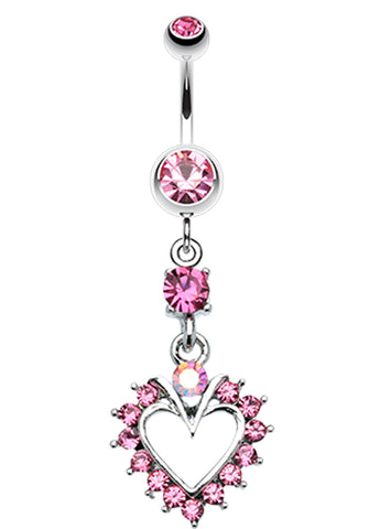 Heart Dazzle Belly Button Ring - 14 GA (1.6mm) - Light Pink - Sold Individually