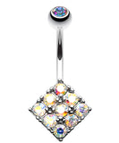 Sparkle Overload Belly Button Ring - 14 GA (1.6mm) - Aurora Borealis - Sold Individually